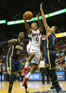 Familiar scene: Jeff Teague in the lane and Roy Hibbert out of position. (Curtis Compton)