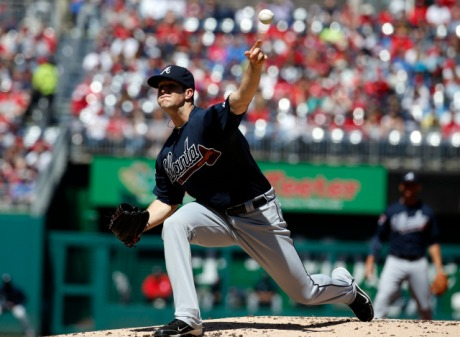 Braves pitcher Alex Wood faced 19 straight batters without allowing a hit until Ian Desmond's homer in the seventh.
